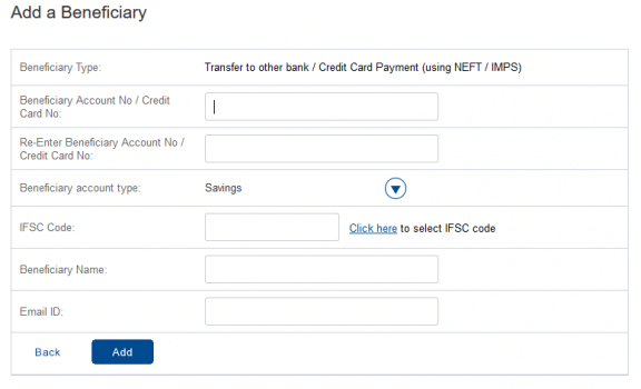 Add A Beneficiary hdfc net banking