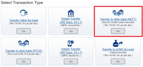 Select Transaction Type