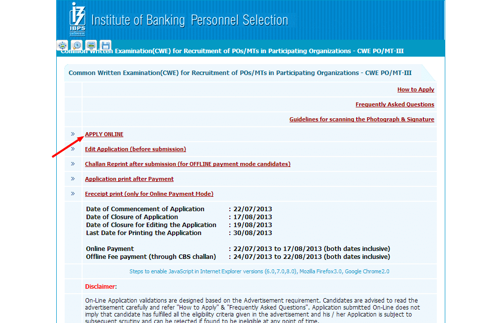 ibps bank exam forms 2013