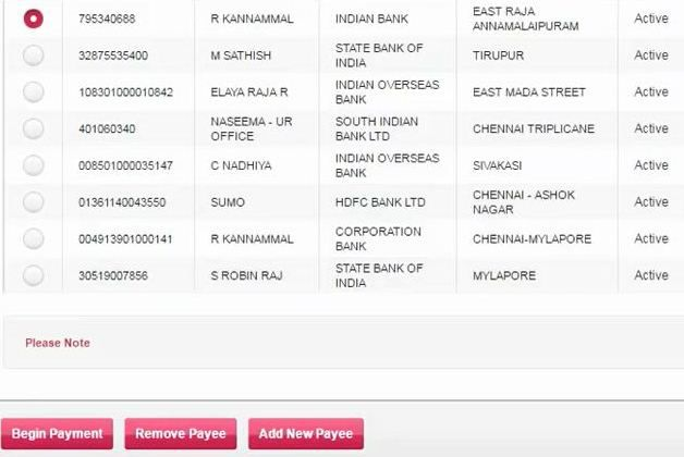 begin payment from axis bank