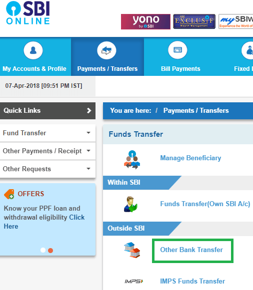 other bank transfer online sbi
