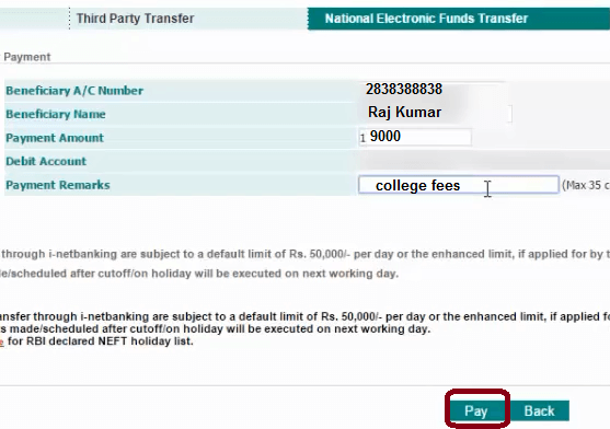 beneficiary details in idbi