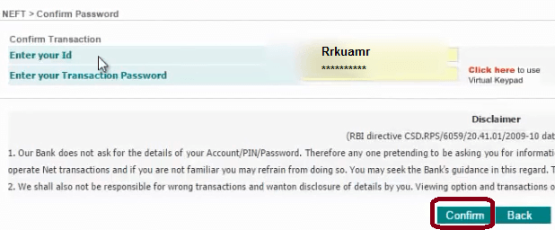 confirm password idbi