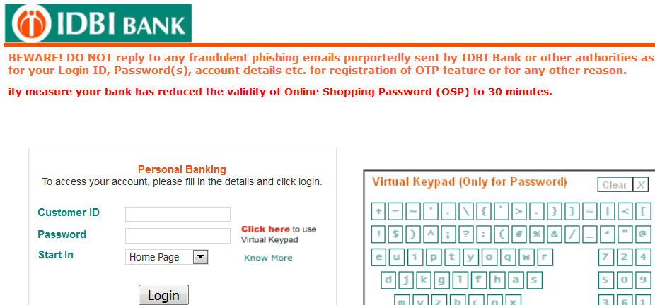 Idbi forex card login