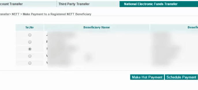 select beneficiary idbi