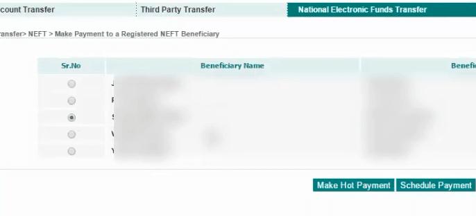 select beneficiary idbi