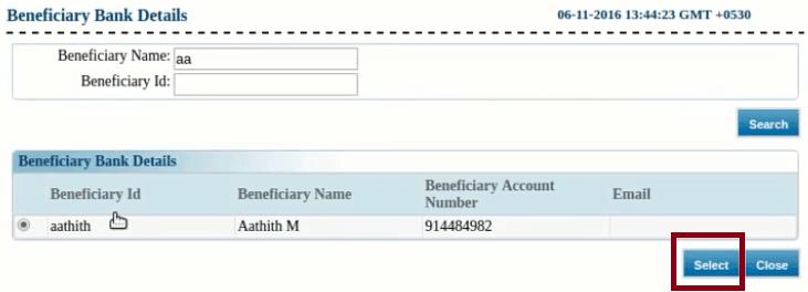 select beneficiary canara bank