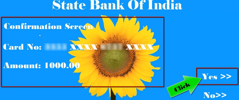 confirm amount in sbi ATM