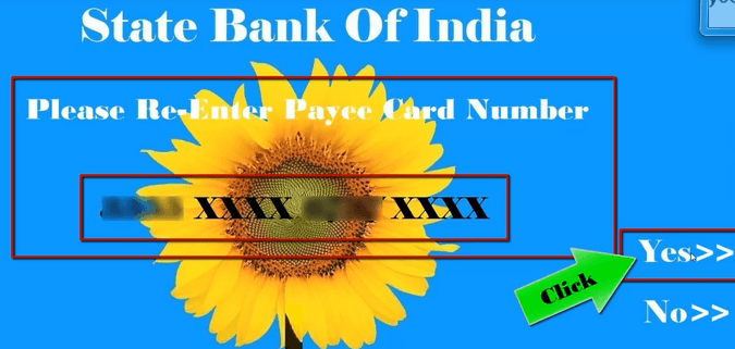 enter debit card number of reciever
