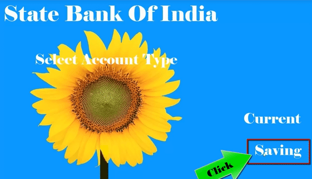 select account type saving in sbi atm