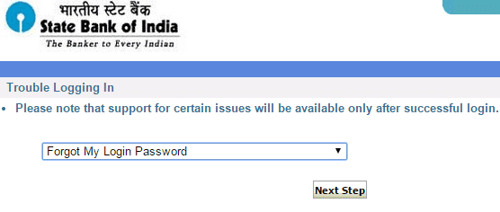 forgot login password in sbi