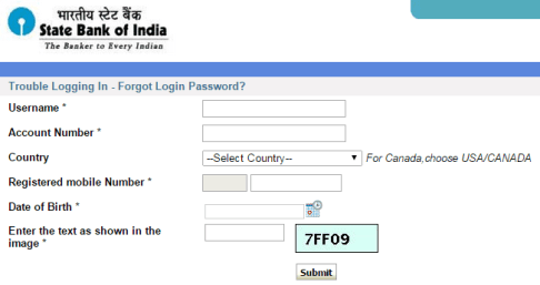 sbi password reset form