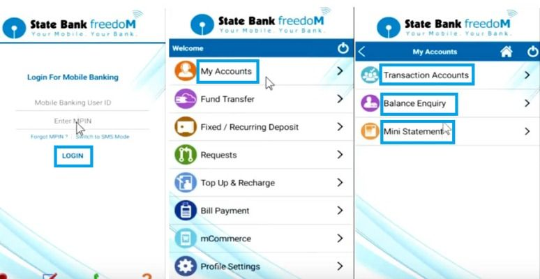 check account balance via sbi freedom app