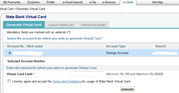 e-cards in sbi
