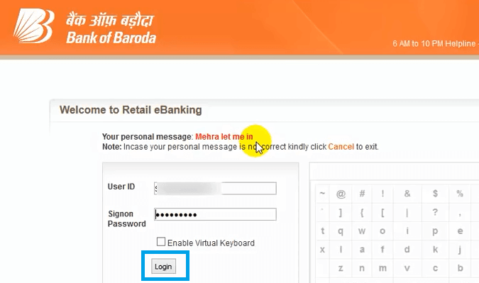 bank of baroda nz log in