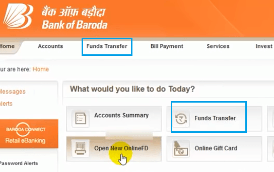 fund transfer bank of baroda