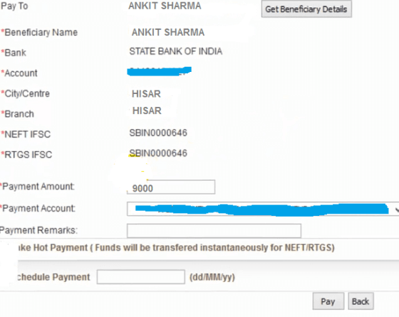 payment details bank of baroda net banking