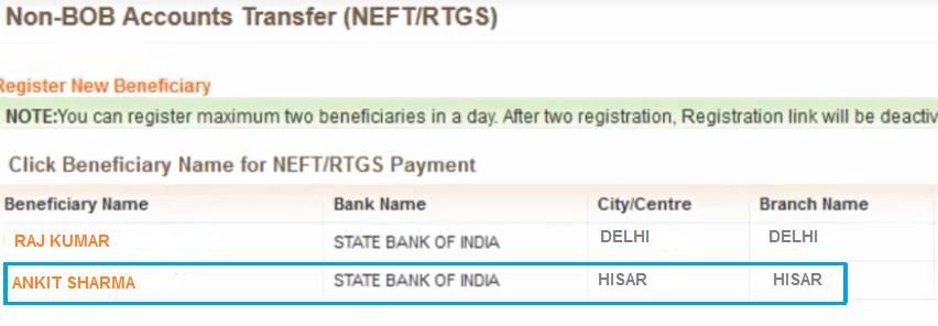 select beneficiary bank of baroda