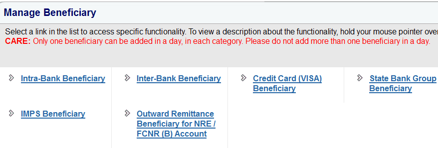 all beneficiary sbi