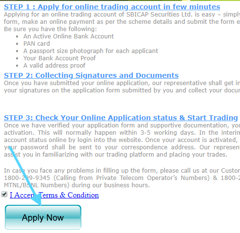 apply for sbi online trading account