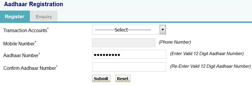 aadhar registration in sbi