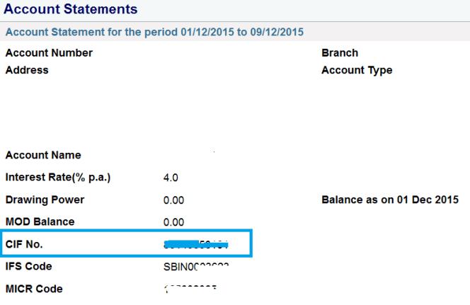 cif number via sbi net banking