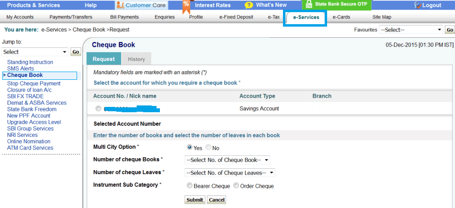 apply for new cheque book in sbi online