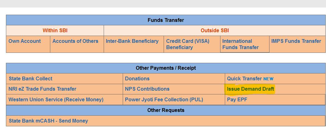 payment transfer tab sbi