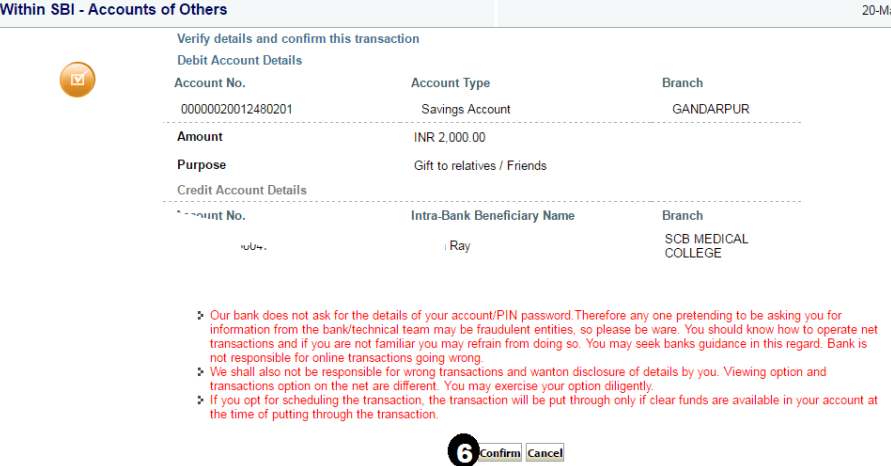 payment confirm in sbi