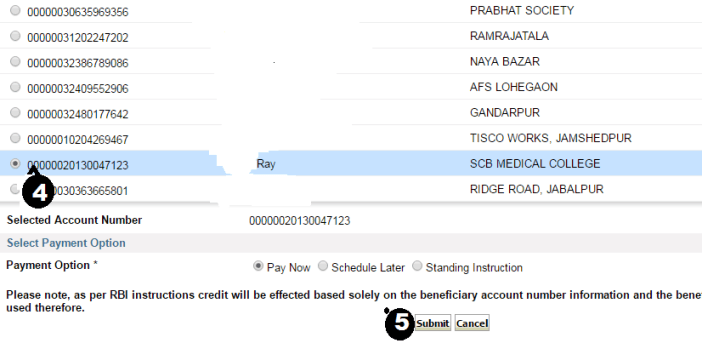 payment submit in sbi