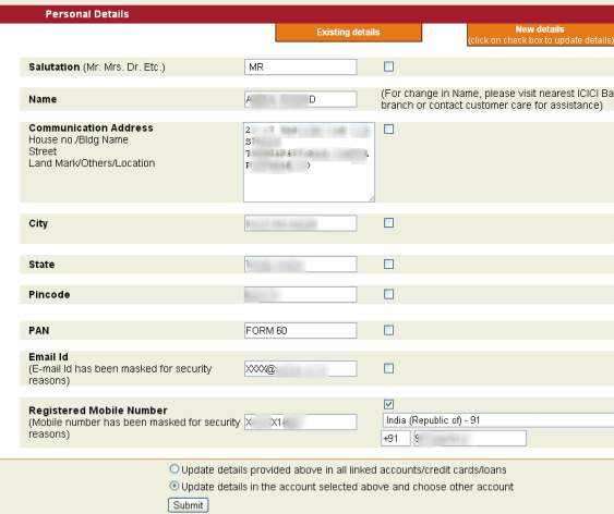 change address in icici bank