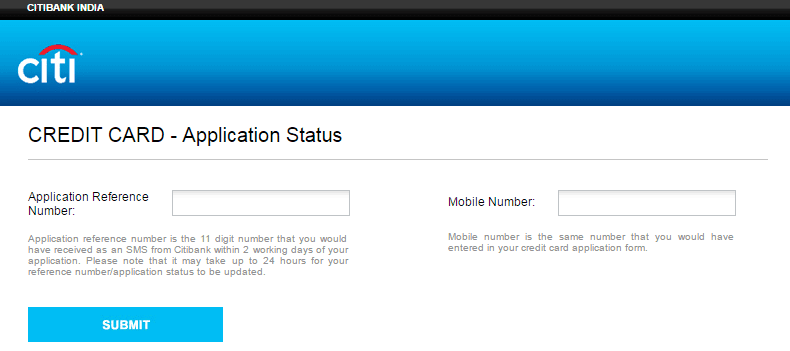 track citibank credit card status online