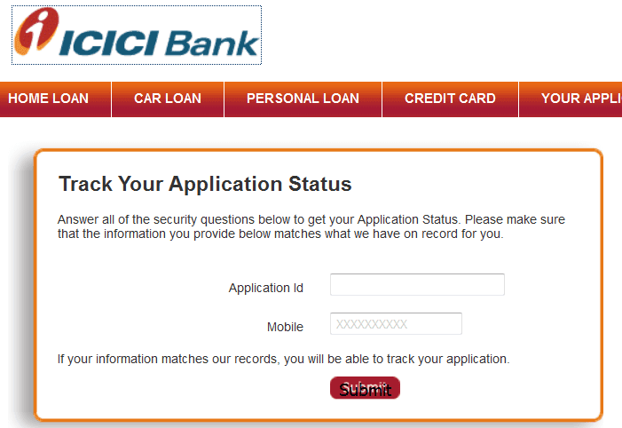 check icici credit card application status online
