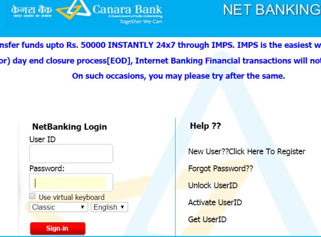 canara online banking account login