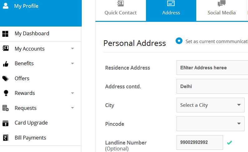change sbi card address