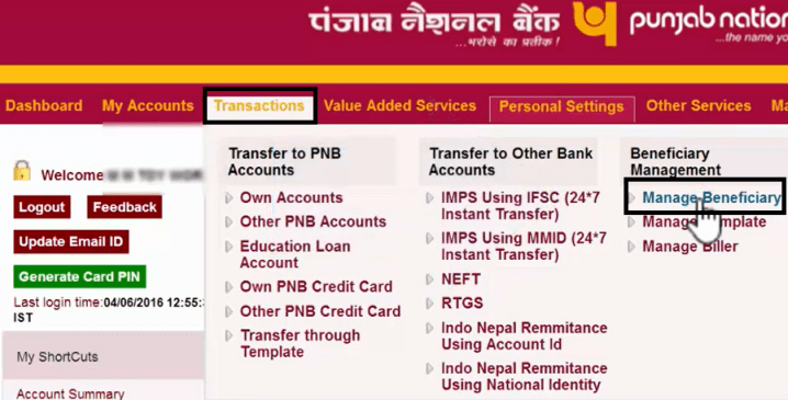 manage beneficiary in pnb