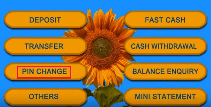 pin change sbi atm