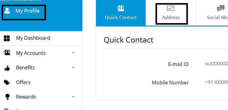 sbi profile address change