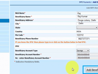 add imps beneficiary in bank of india
