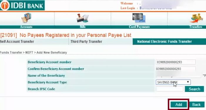 How to Add New Beneficiary in IDBI Bank