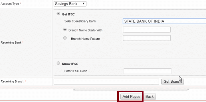 add payee in union bank of india net banking