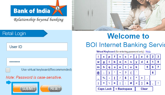bank of india net banking login