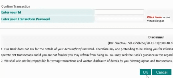 confirm transaction idbi