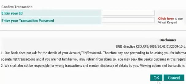 confirm transaction idbi