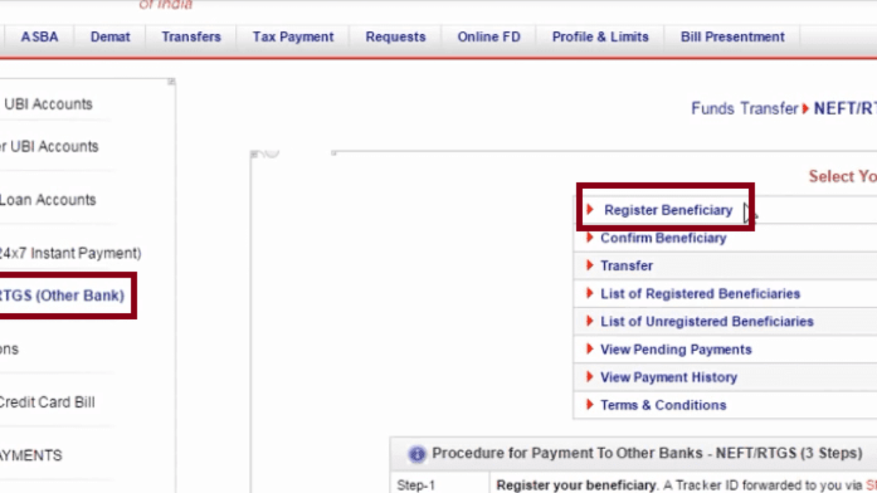 How to Add Beneficiary in Union Bank of India