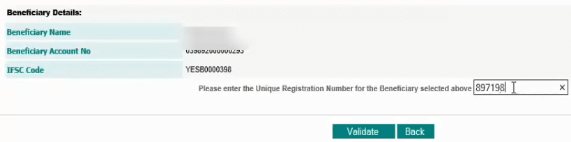 validate idbi beneficiary