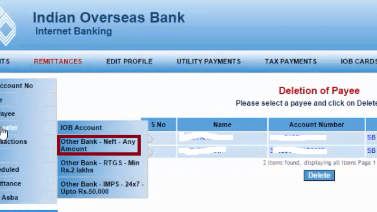 How To Transfer Money From Iob And Other Banks