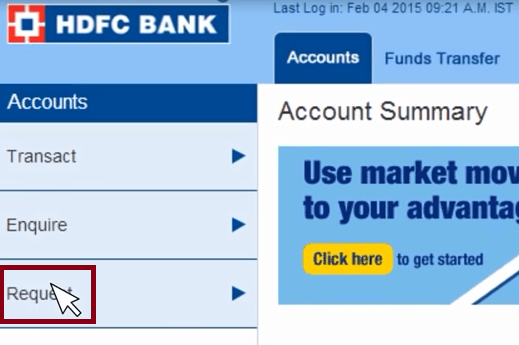 request link hdfc bank