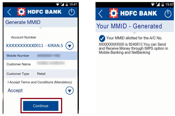 select account in hdfc app