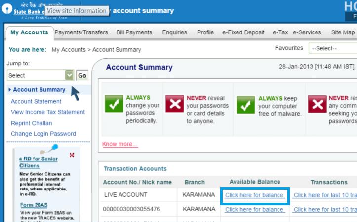 check sbt balance via online banking